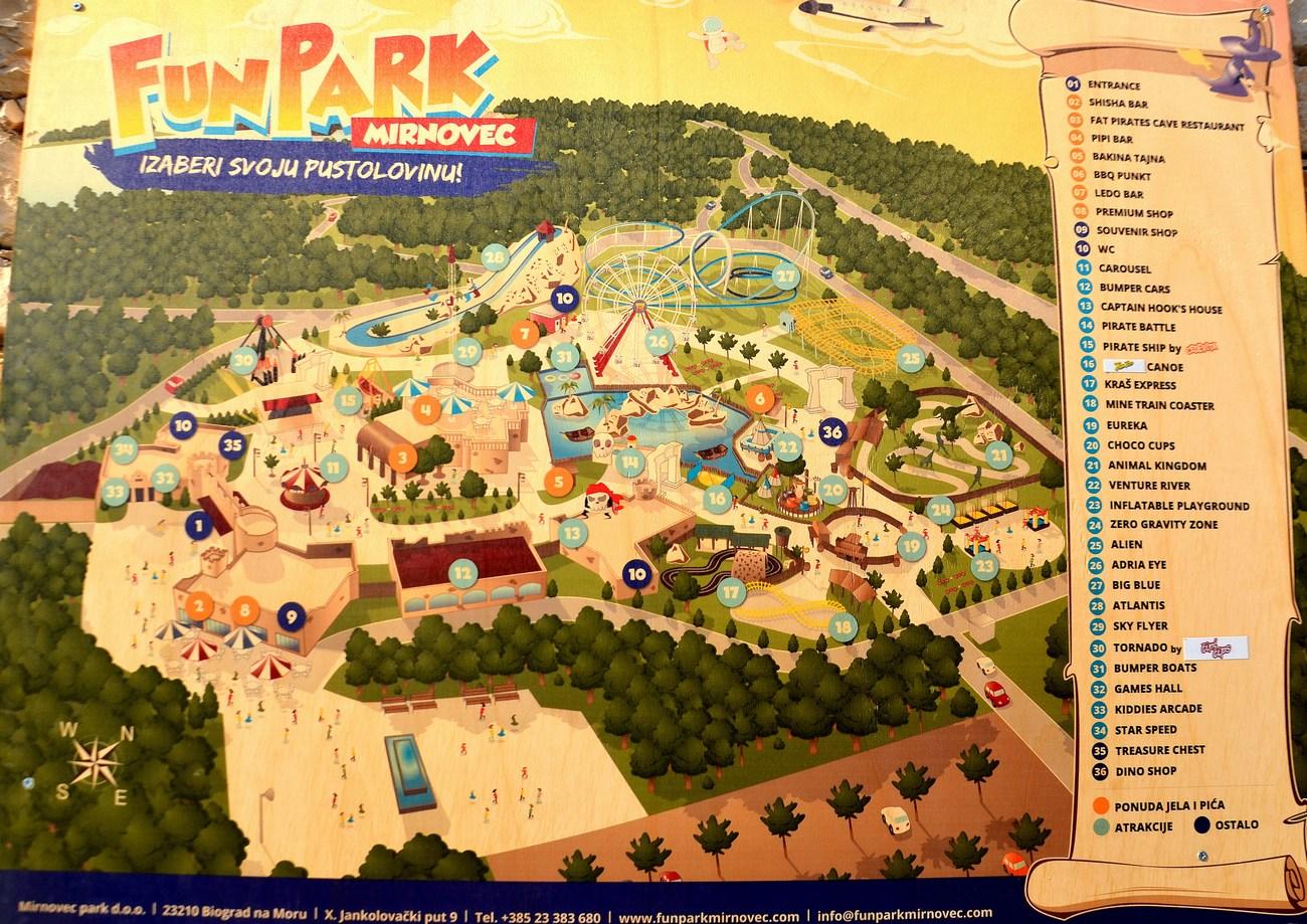 Zemljevid Fun parka Mirnovec. Polno je zanimivih atrakcij.