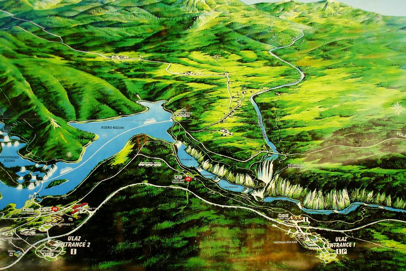 Zemljevid Plitvičkih jezer.