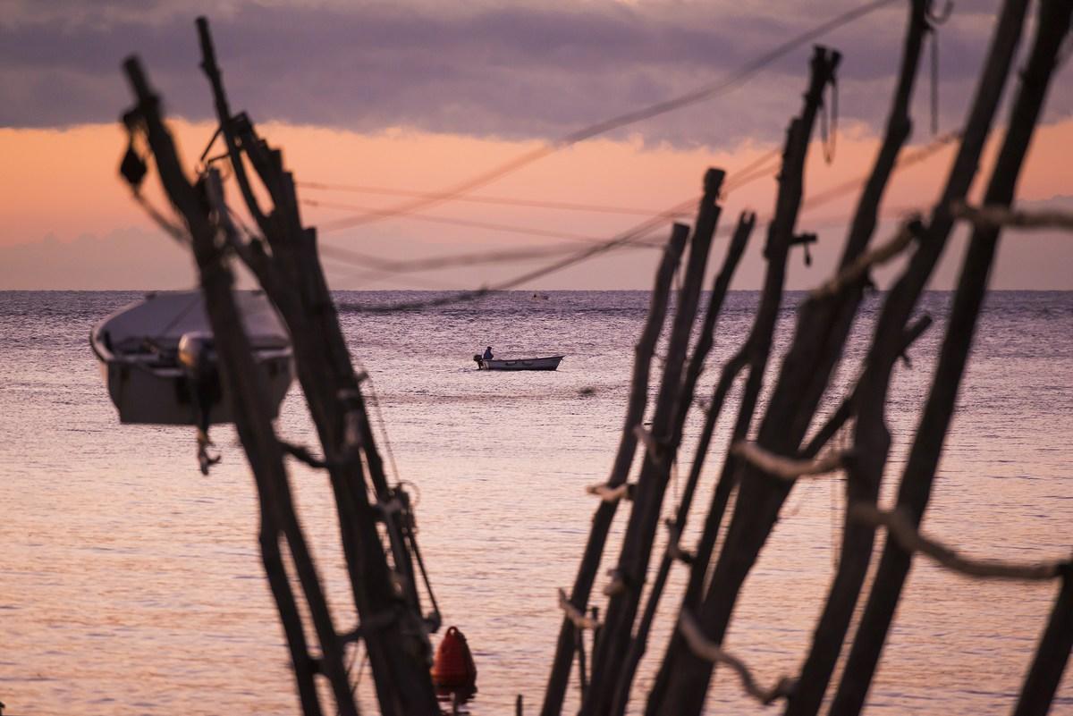 Ribič v čolnu
