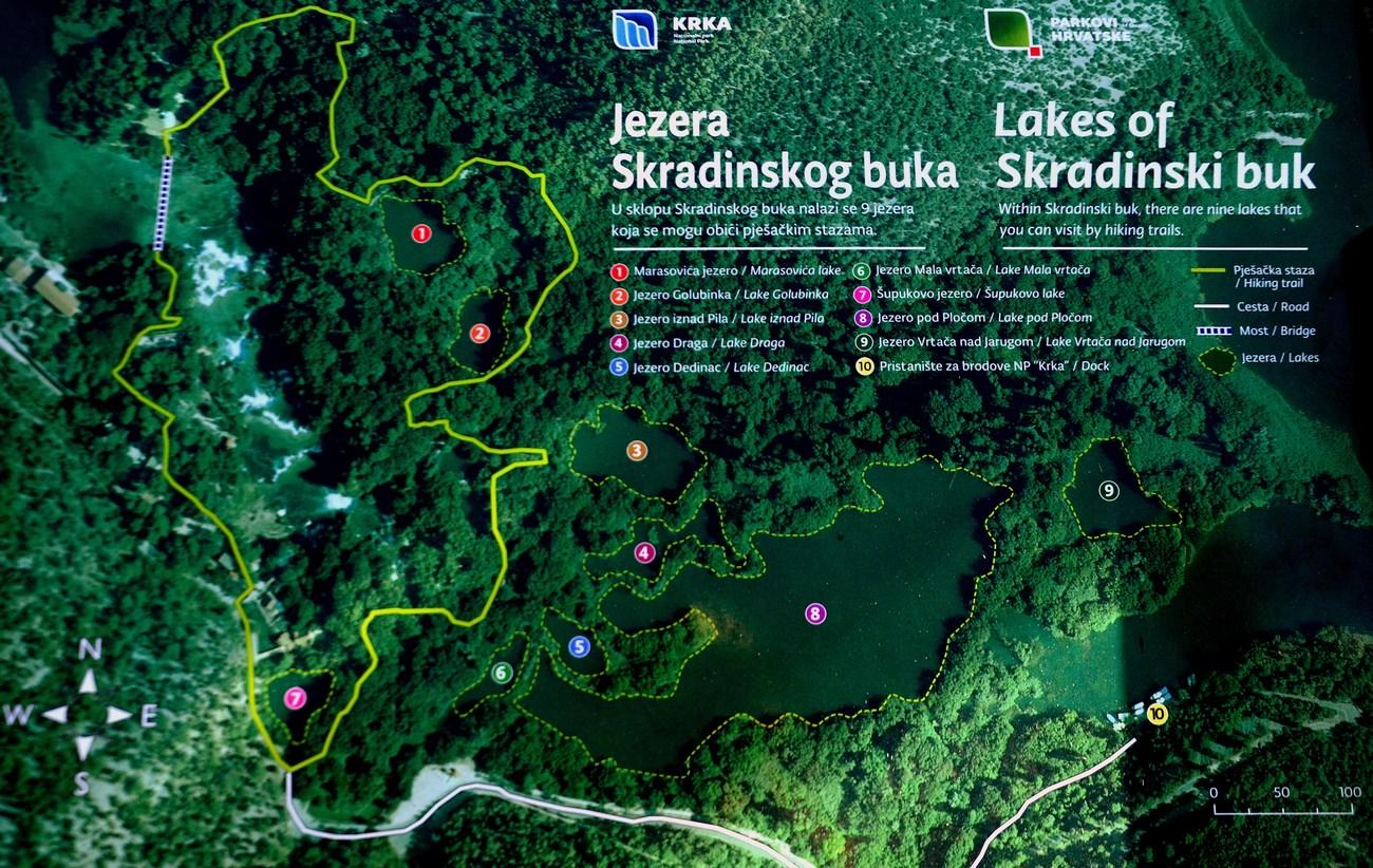 Zemljevid jezerc in slapov okrog Skradinskega buka ... za lažjo predstavo.