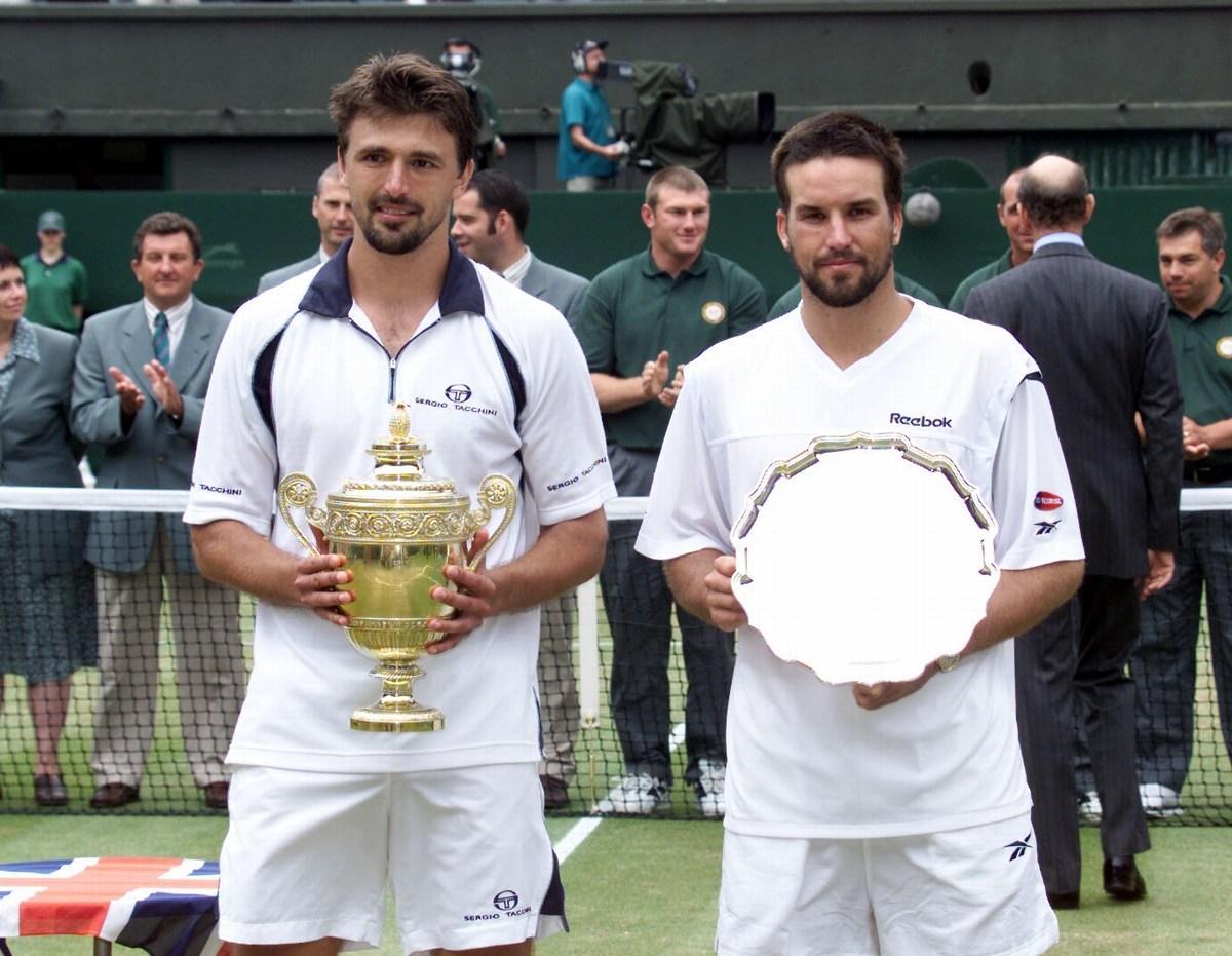 Goran Ivanišević in Patrick Rafter na wimbledonskom finalu (Photo Tom Hevezi Press Association PIXSELL)