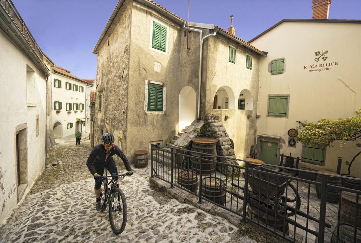 Hiša belice in kolesar