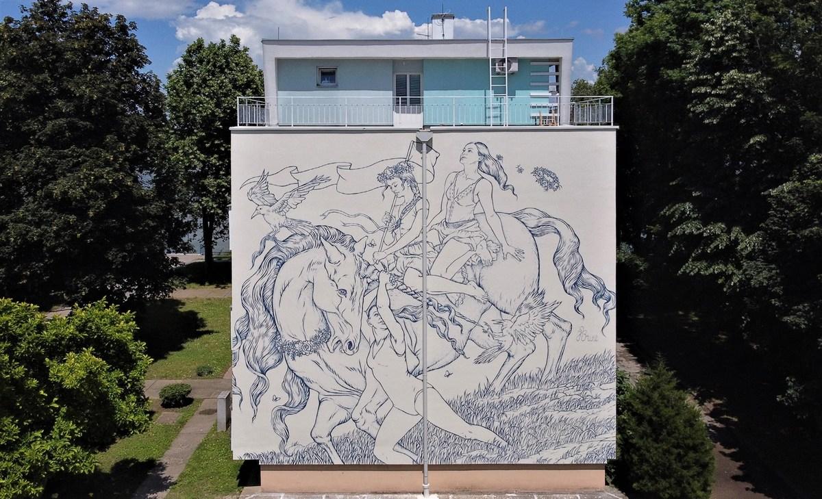 Jana Brike - Procession of life by a blue river